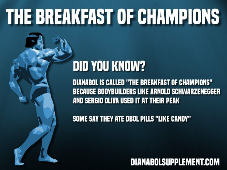 Dianabol is called the breakfast of champions because it was heavily used by Arnold Schwarzenegger